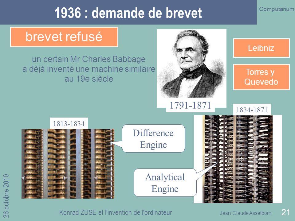 1936 : demande de brevet brevet refusé 1791-1871 Difference Engine