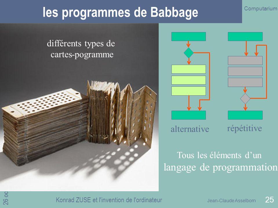 les programmes de Babbage