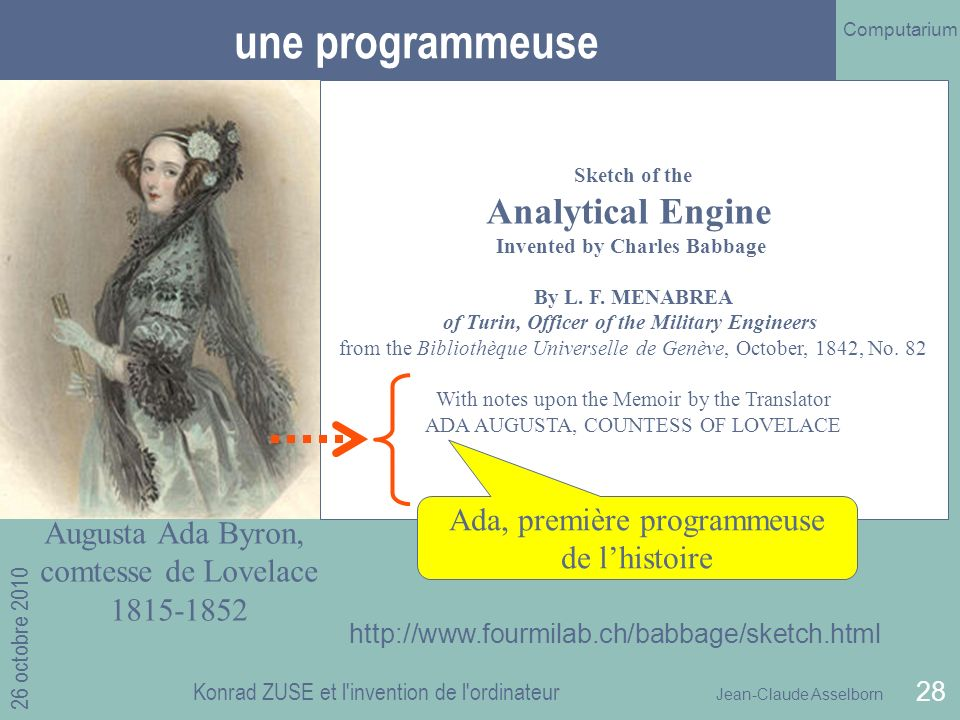 une programmeuse Analytical Engine Invented by Charles Babbage