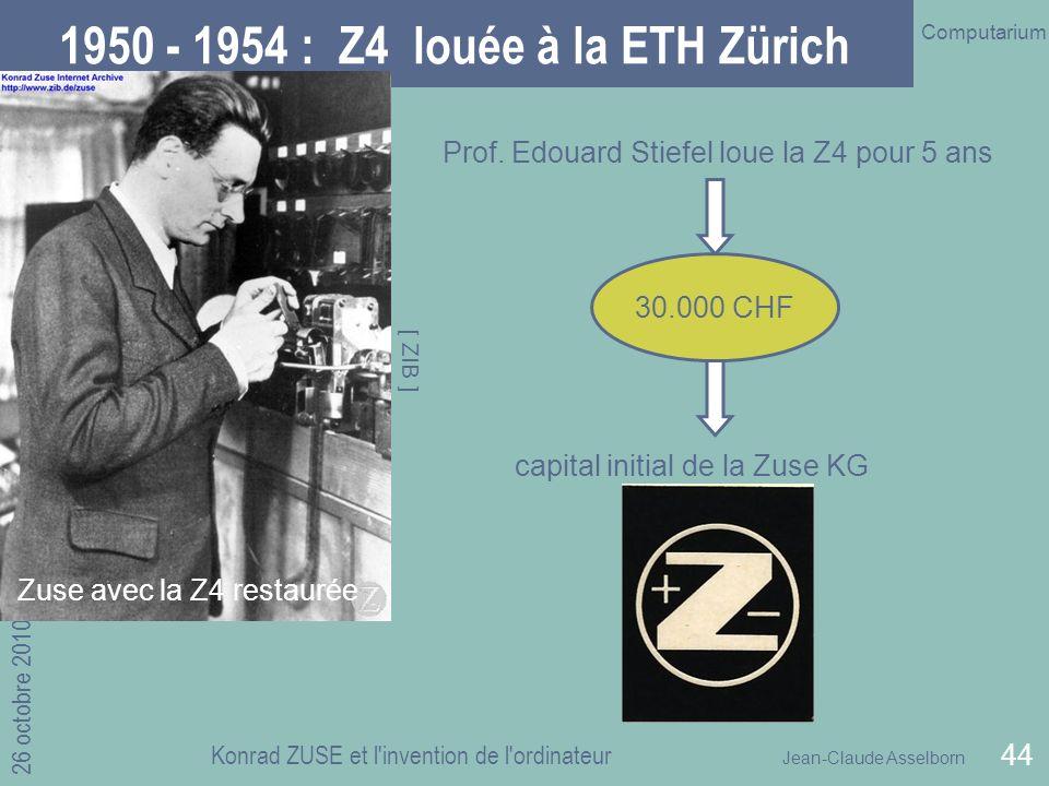 1950 - 1954 : Z4 louée à la ETH Zürich