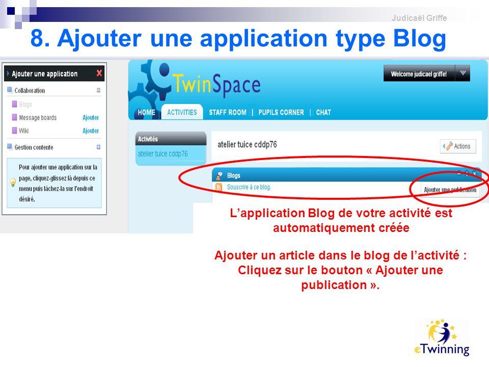 8. Ajouter une application type Blog