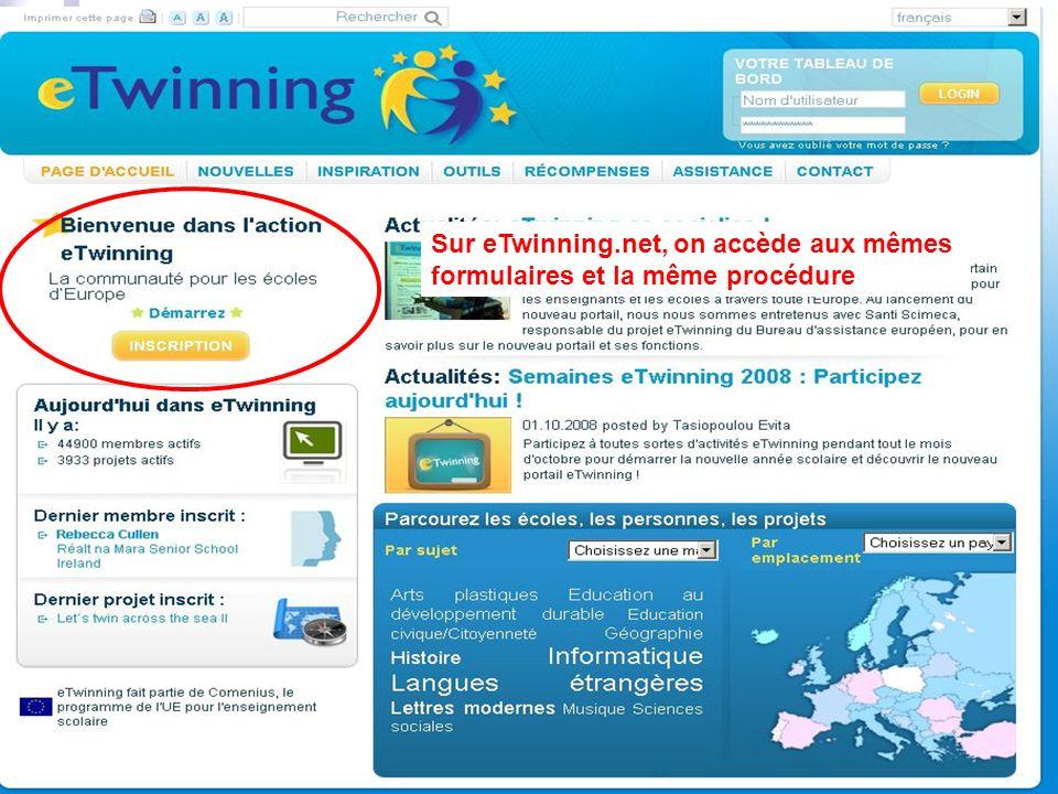 judicael griffe Sur eTwinning.net, on accède aux mêmes formulaires et la même procédure