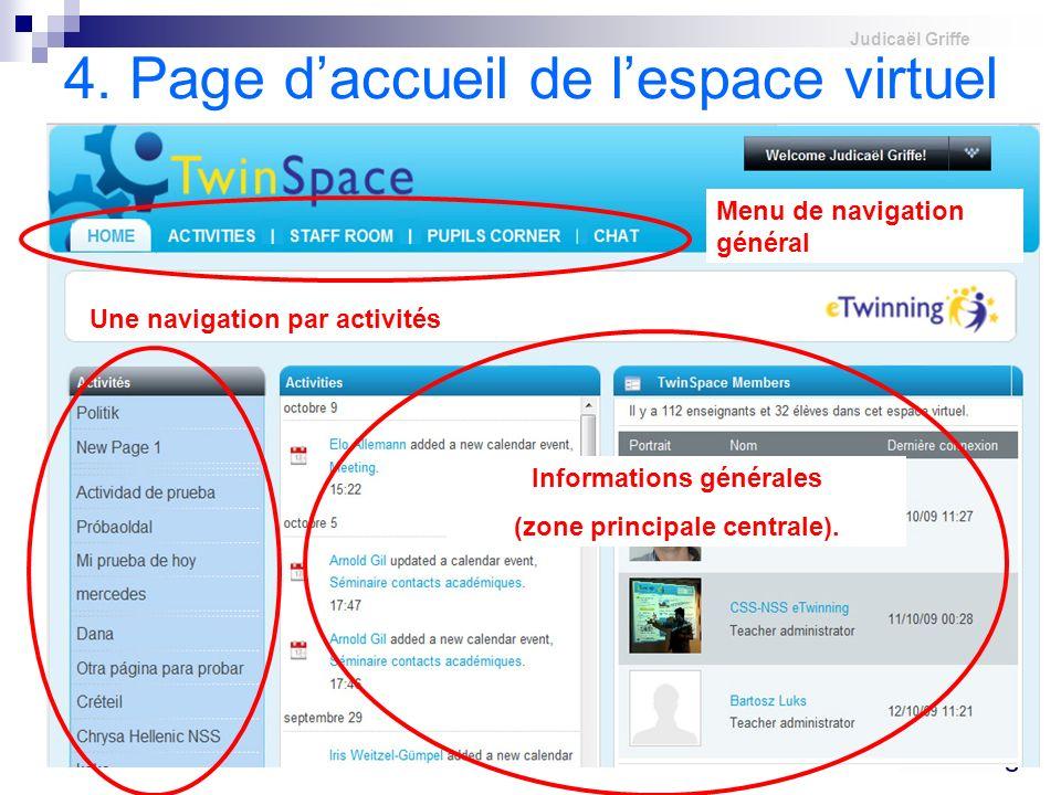 4. Page d'accueil de l'espace virtuel