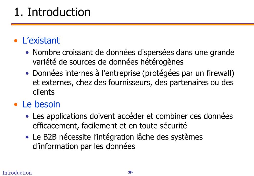 1. Introduction L'existant Le besoin
