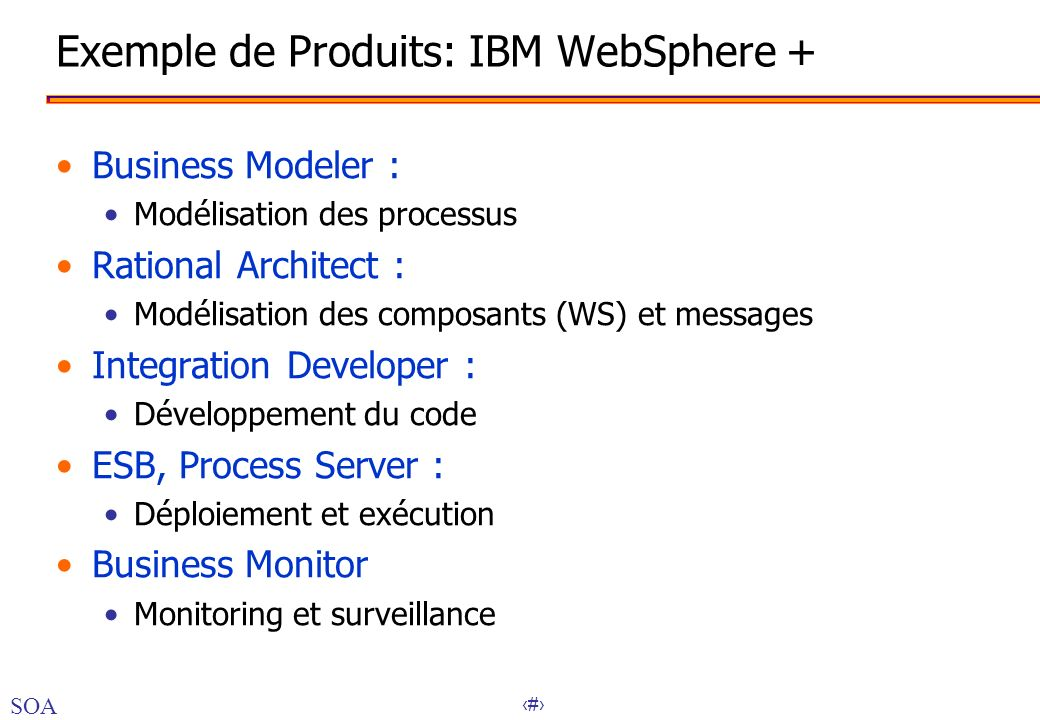 Exemple de Produits: IBM WebSphere +