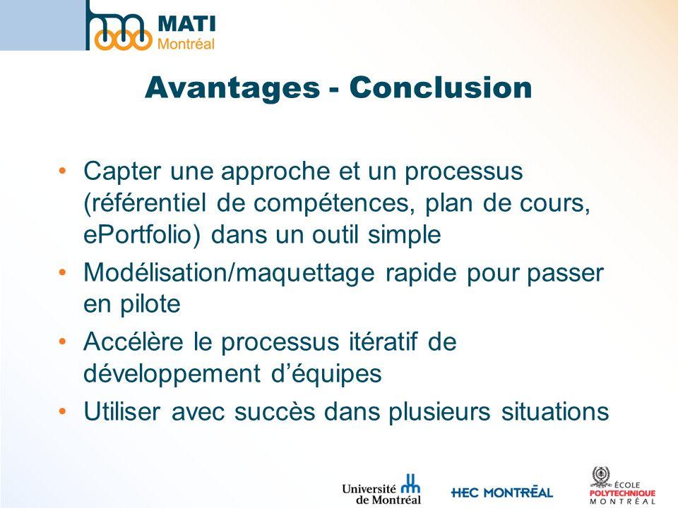 Avantages - Conclusion