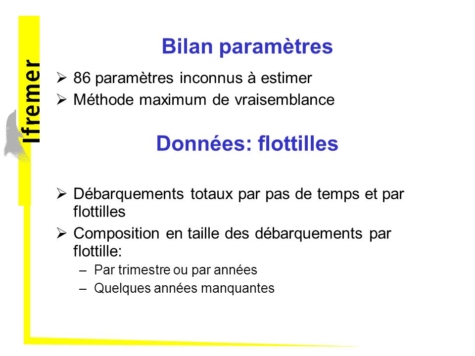 Bilan paramètres Données: flottilles