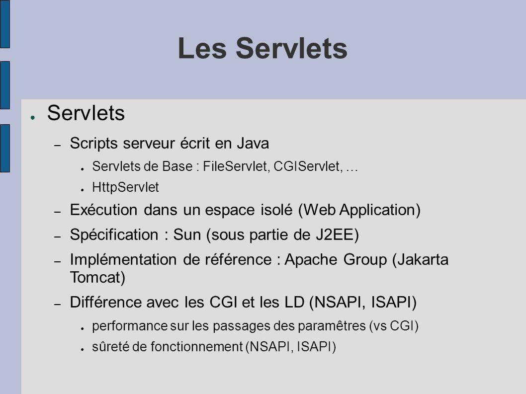 Les Servlets Servlets Scripts serveur écrit en Java