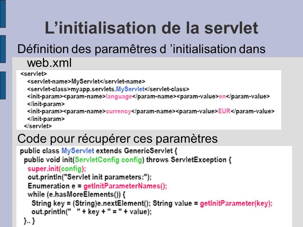 L'initialisation de la servlet