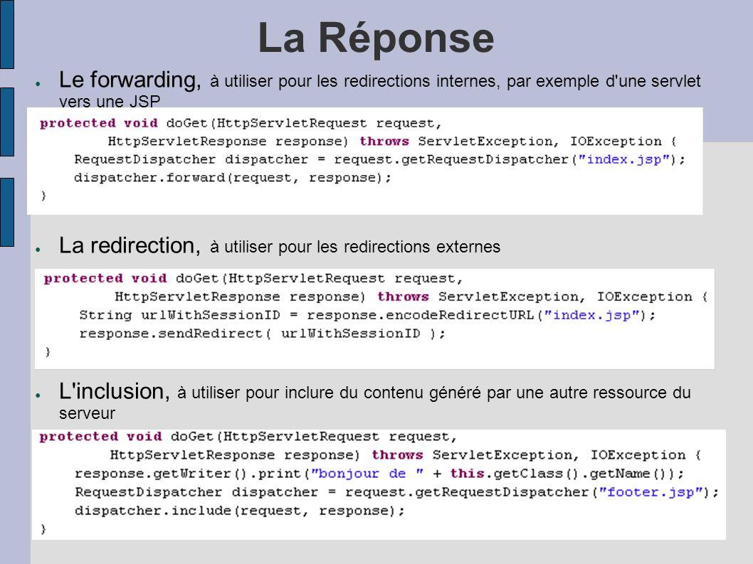 La Réponse Le forwarding, à utiliser pour les redirections internes, par exemple d une servlet vers une JSP.