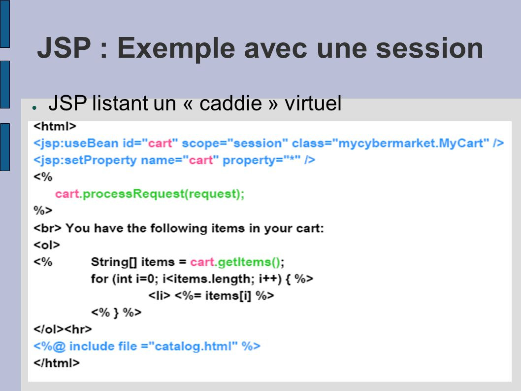 JSP : Exemple avec une session