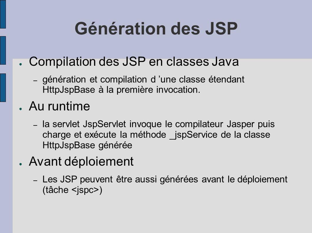 Génération des JSP Compilation des JSP en classes Java Au runtime