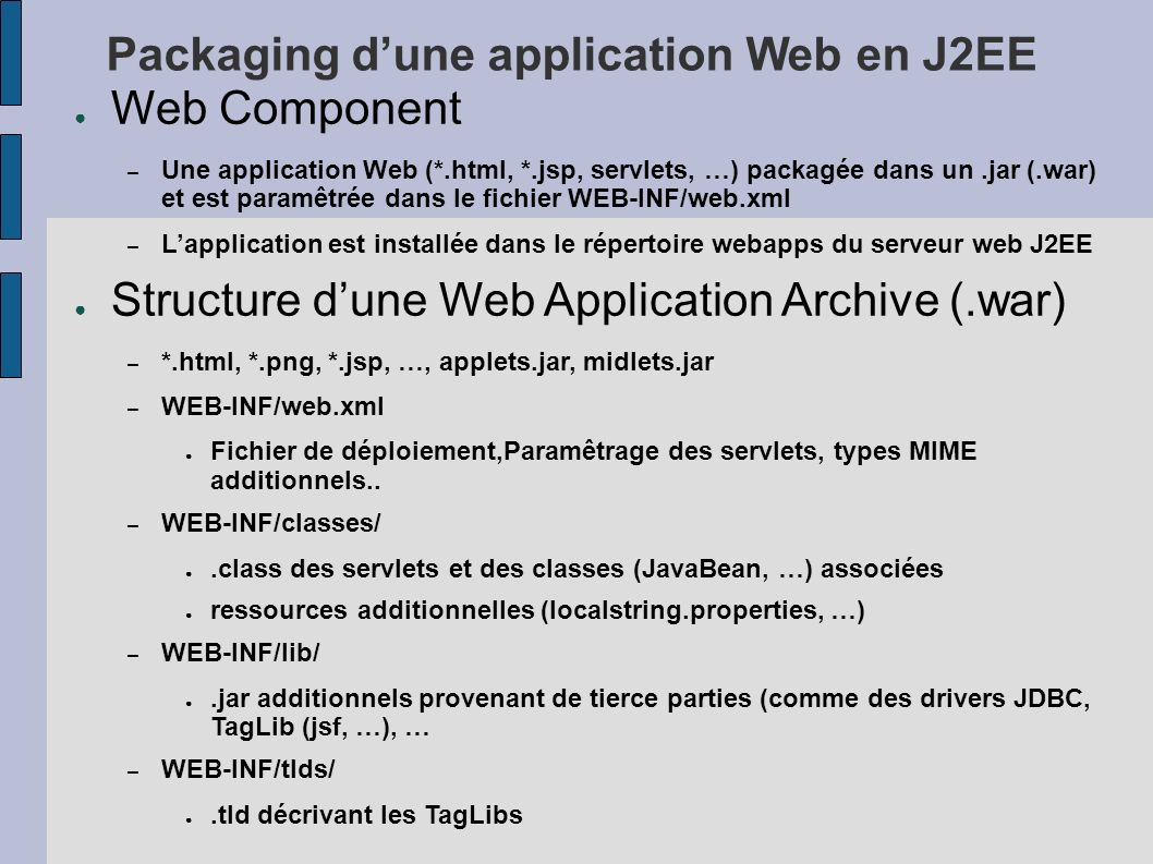 Packaging d'une application Web en J2EE