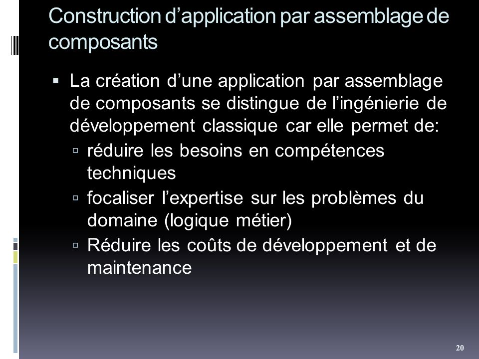 Construction d'application par assemblage de composants