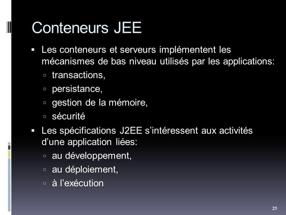Conteneurs JEE Les conteneurs et serveurs implémentent les mécanismes de bas niveau utilisés par les applications: