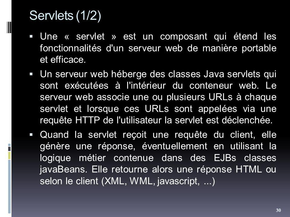 Servlets (1/2) Une « servlet » est un composant qui étend les fonctionnalités d un serveur web de manière portable et efficace.