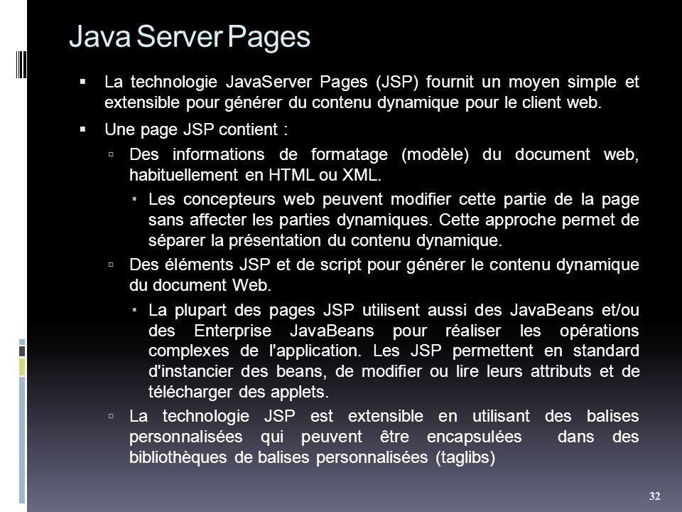 Java Server Pages La technologie JavaServer Pages (JSP) fournit un moyen simple et extensible pour générer du contenu dynamique pour le client web.