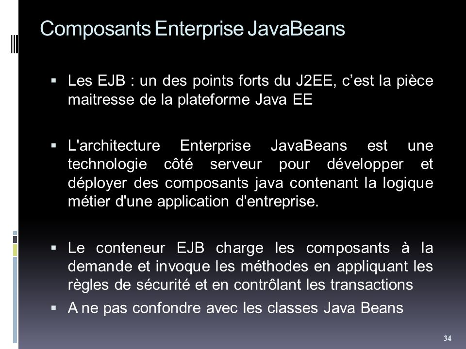 Composants Enterprise JavaBeans