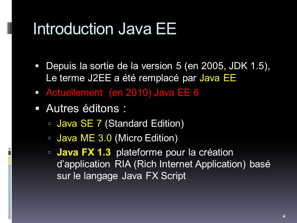 Introduction Java EE Autres éditons :