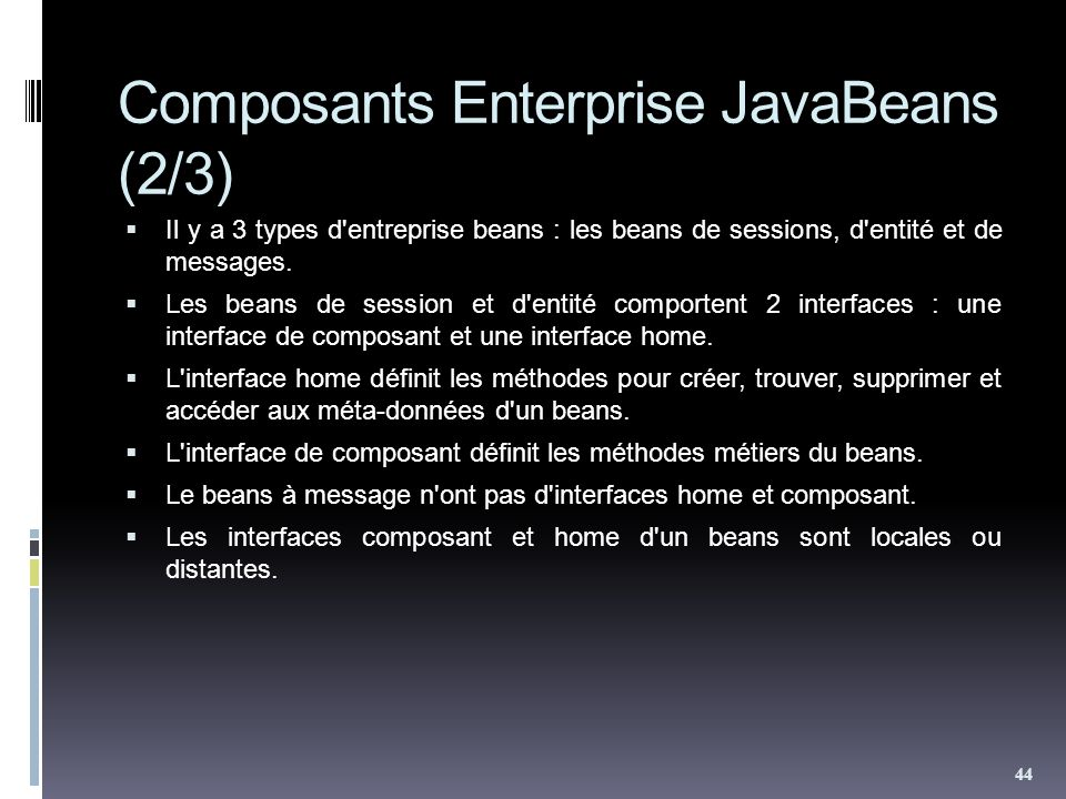 Composants Enterprise JavaBeans (2/3)
