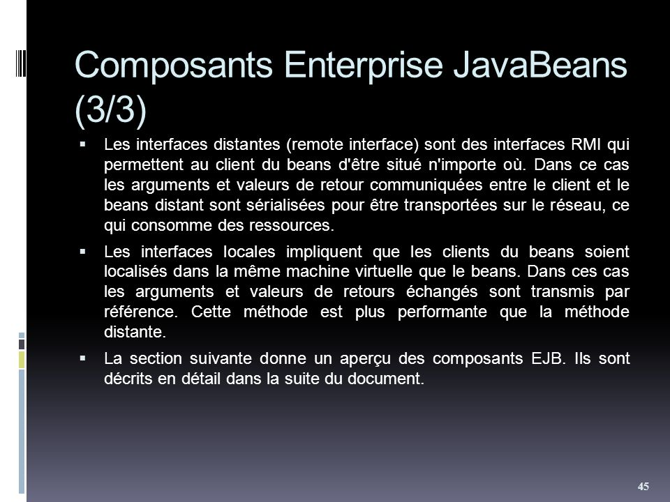 Composants Enterprise JavaBeans (3/3)