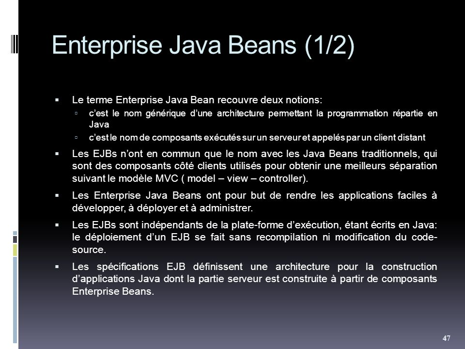 Enterprise Java Beans (1/2)