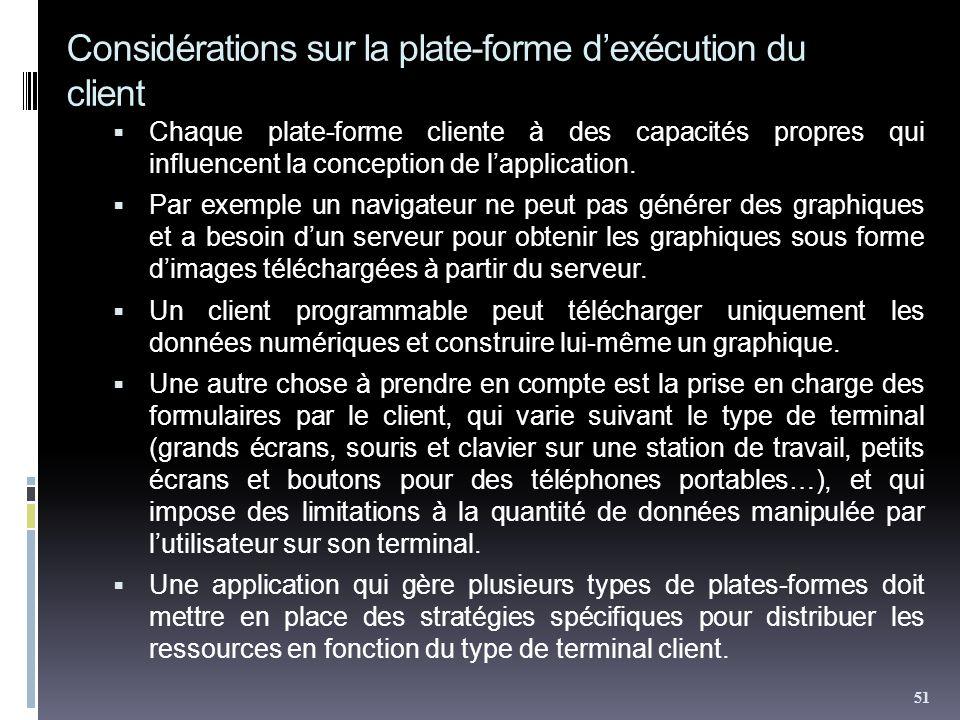 Considérations sur la plate-forme d'exécution du client