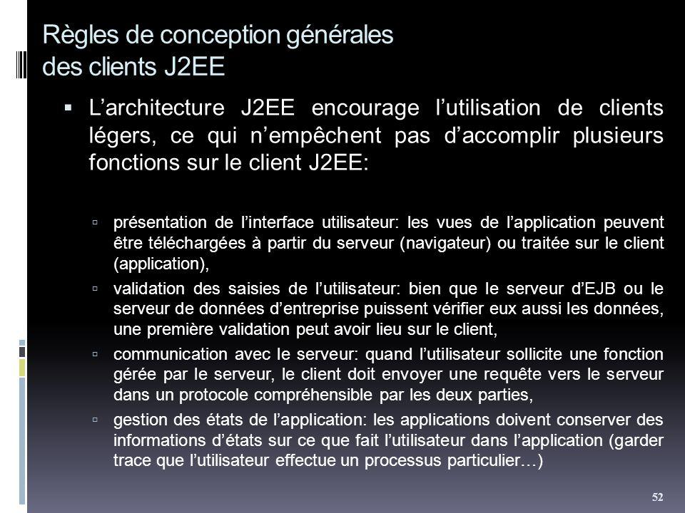 Règles de conception générales des clients J2EE