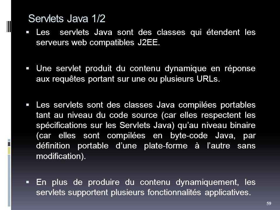 Servlets Java 1/2 Les servlets Java sont des classes qui étendent les serveurs web compatibles J2EE.
