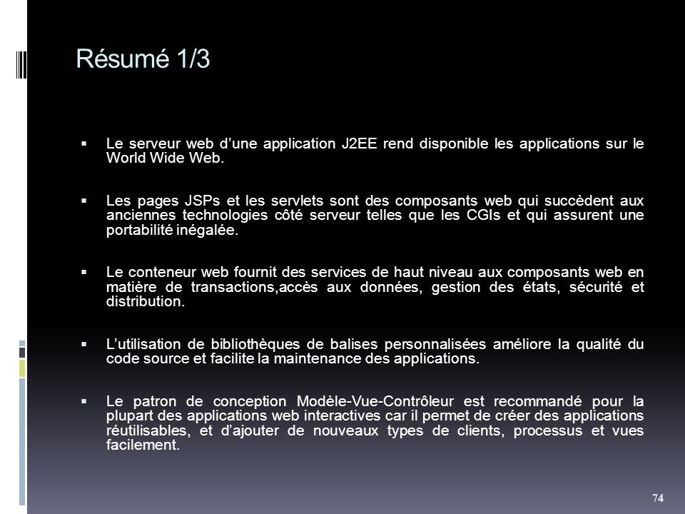 Résumé 1/3 Le serveur web d'une application J2EE rend disponible les applications sur le World Wide Web.