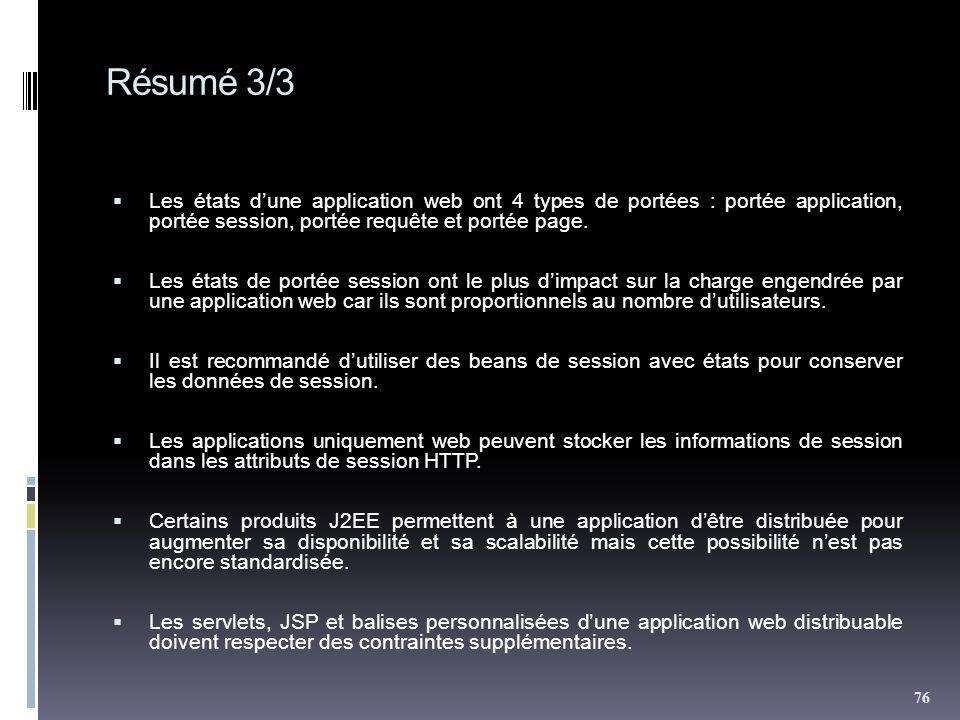 Résumé 3/3 Les états d'une application web ont 4 types de portées : portée application, portée session, portée requête et portée page.