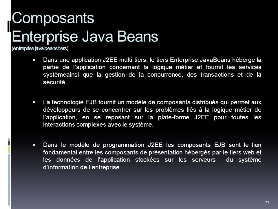 Composants Enterprise Java Beans (entreprise java beans tiers)