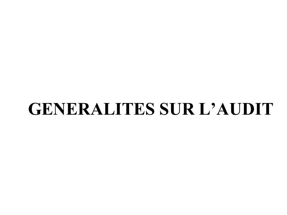 GENERALITES SUR L'AUDIT