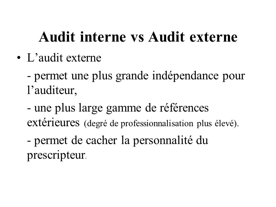 Audit interne vs Audit externe