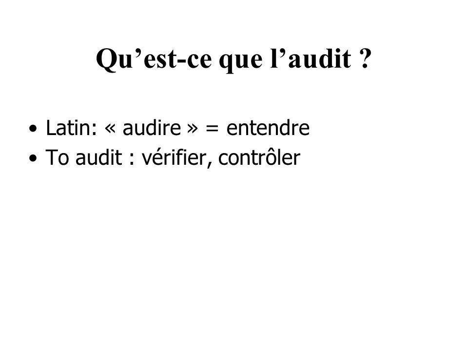 Qu'est-ce que l'audit Latin: « audire » = entendre