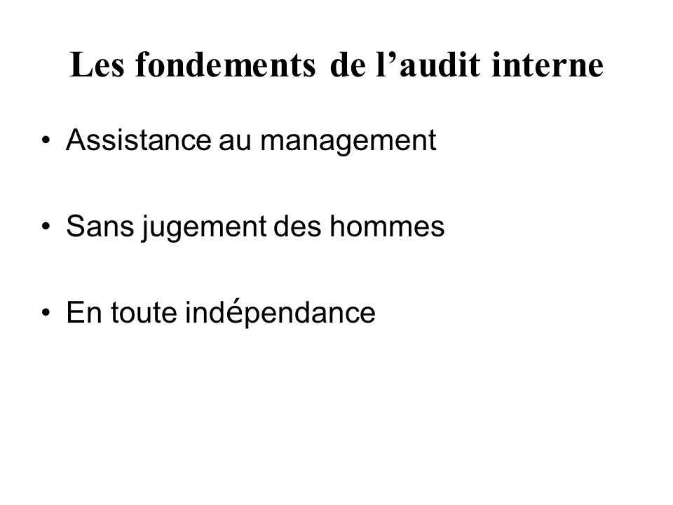 Les fondements de l'audit interne