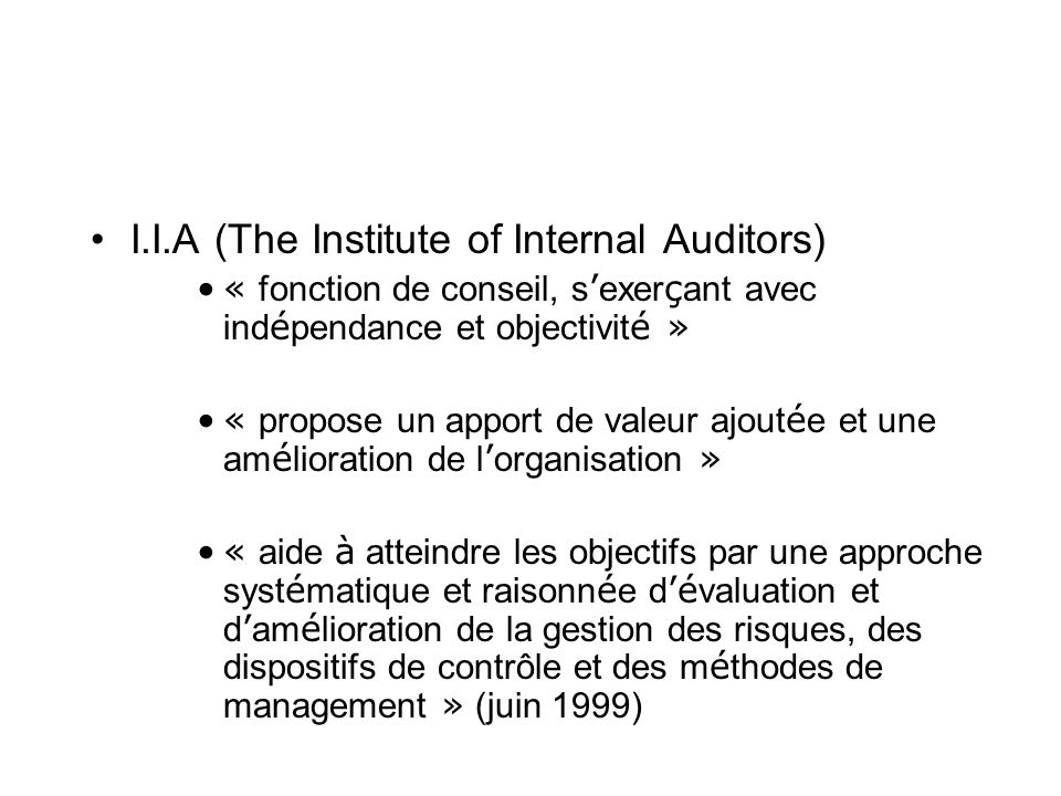 I.I.A (The Institute of Internal Auditors)