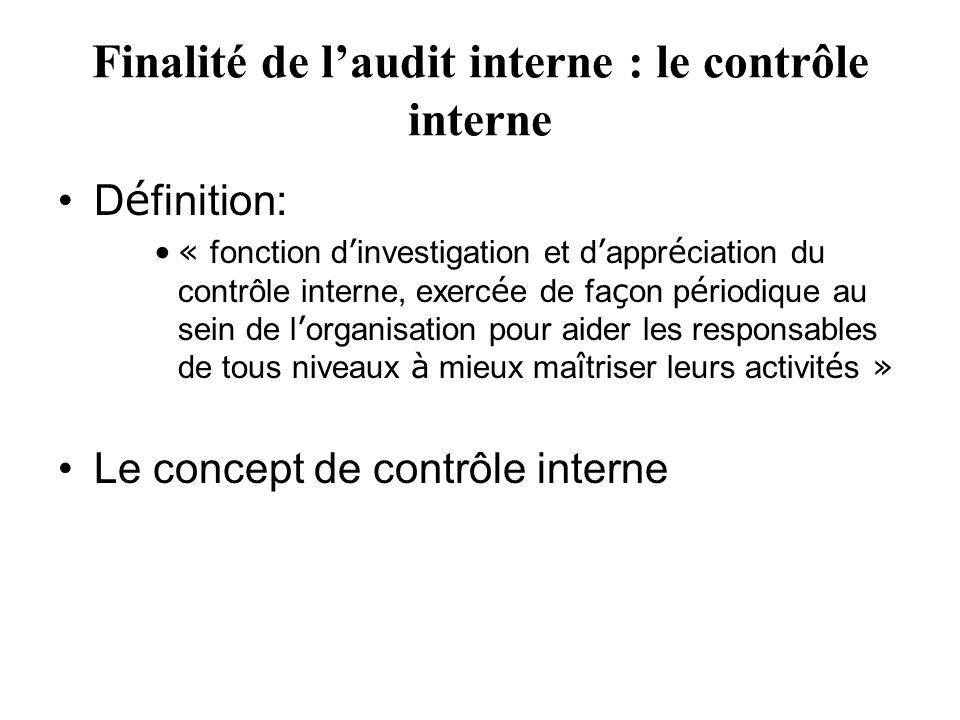 Finalité de l'audit interne : le contrôle interne