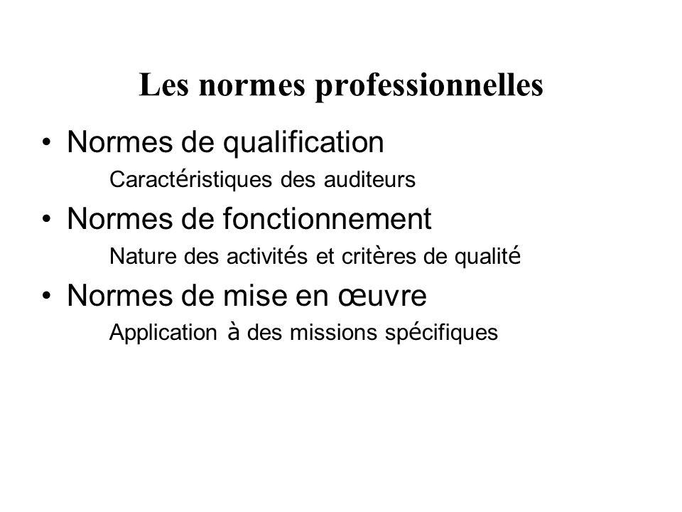 Les normes professionnelles