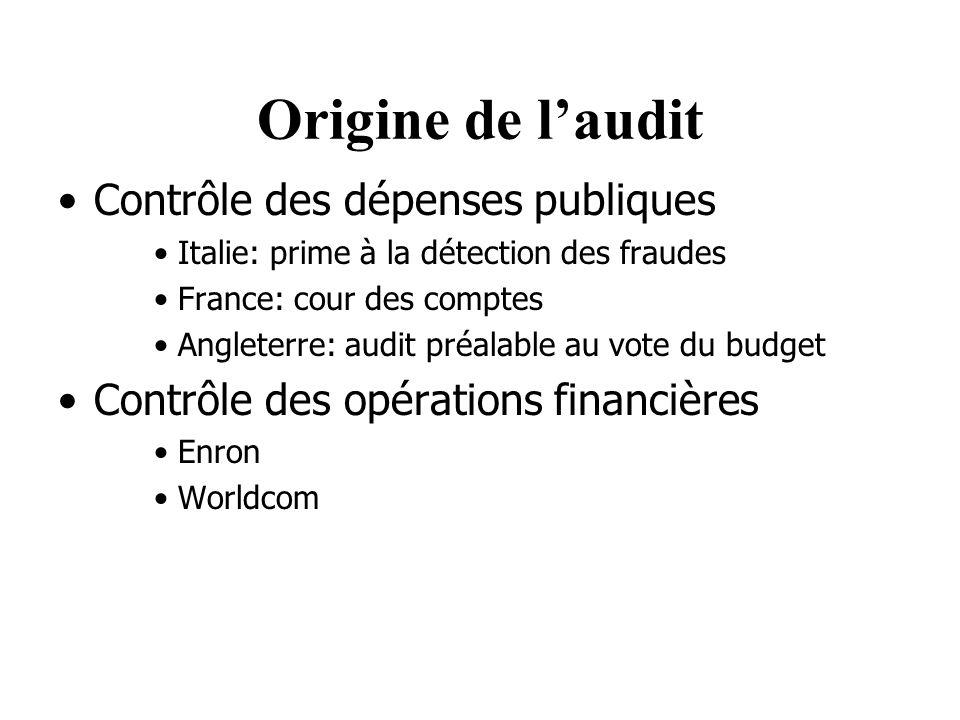 Origine de l'audit Contrôle des dépenses publiques