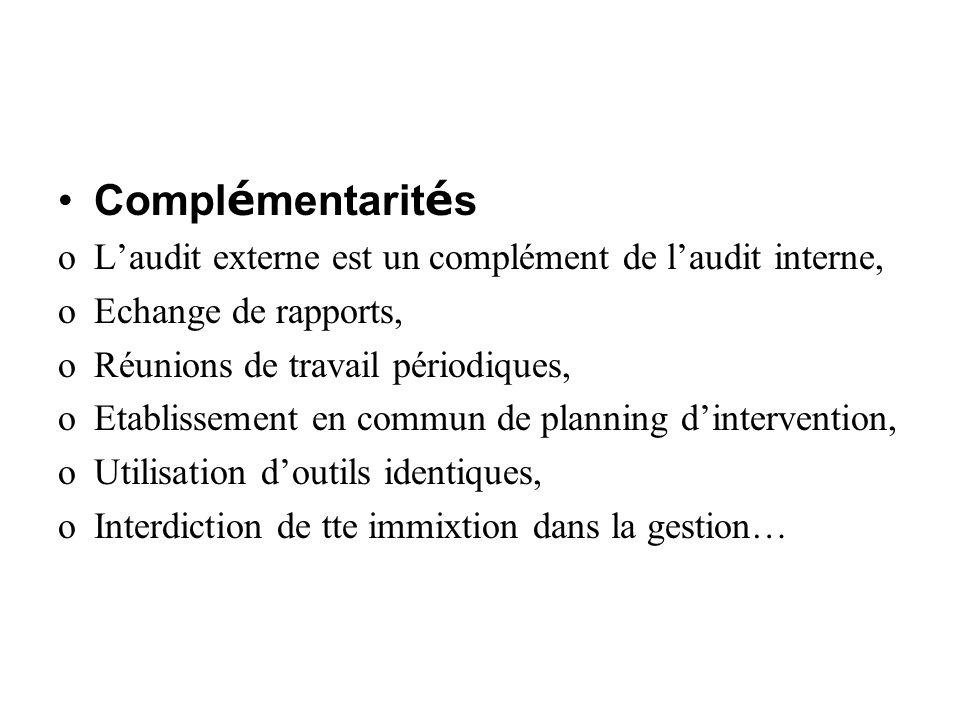 Complémentarités L'audit externe est un complément de l'audit interne,