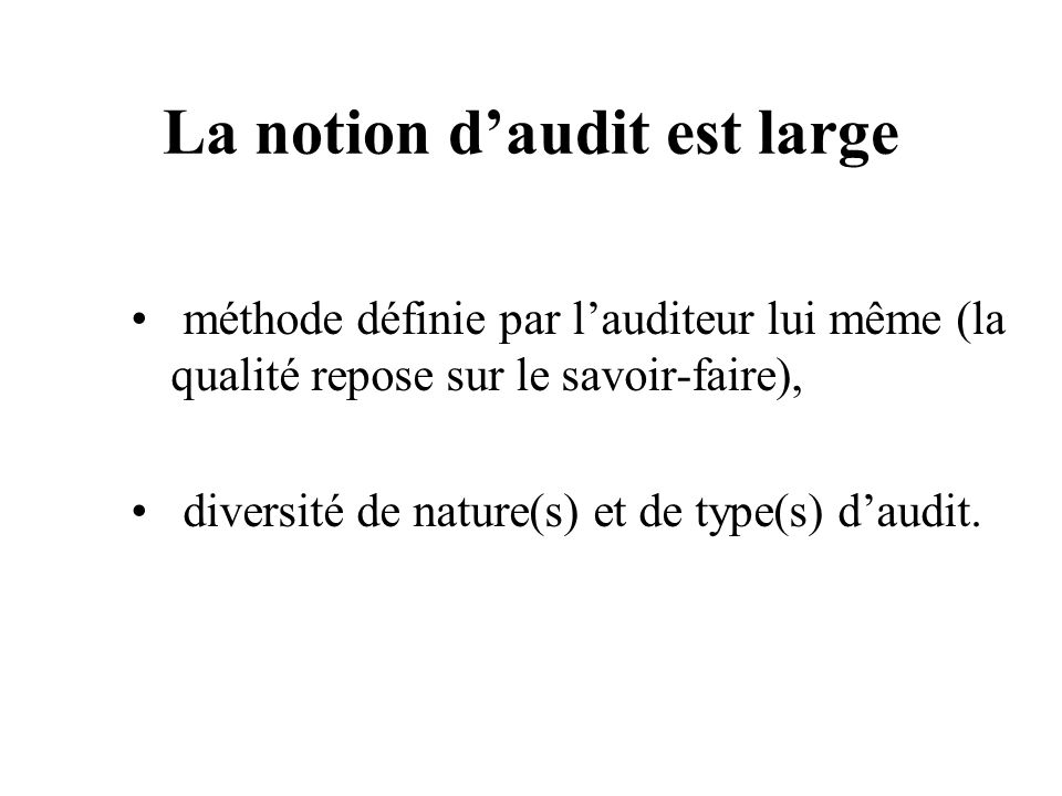La notion d'audit est large