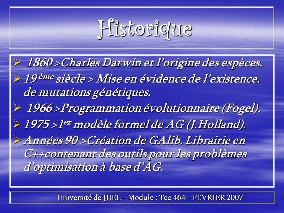 Université de JIJEL – Module : Tec 464 – FEVRIER 2007