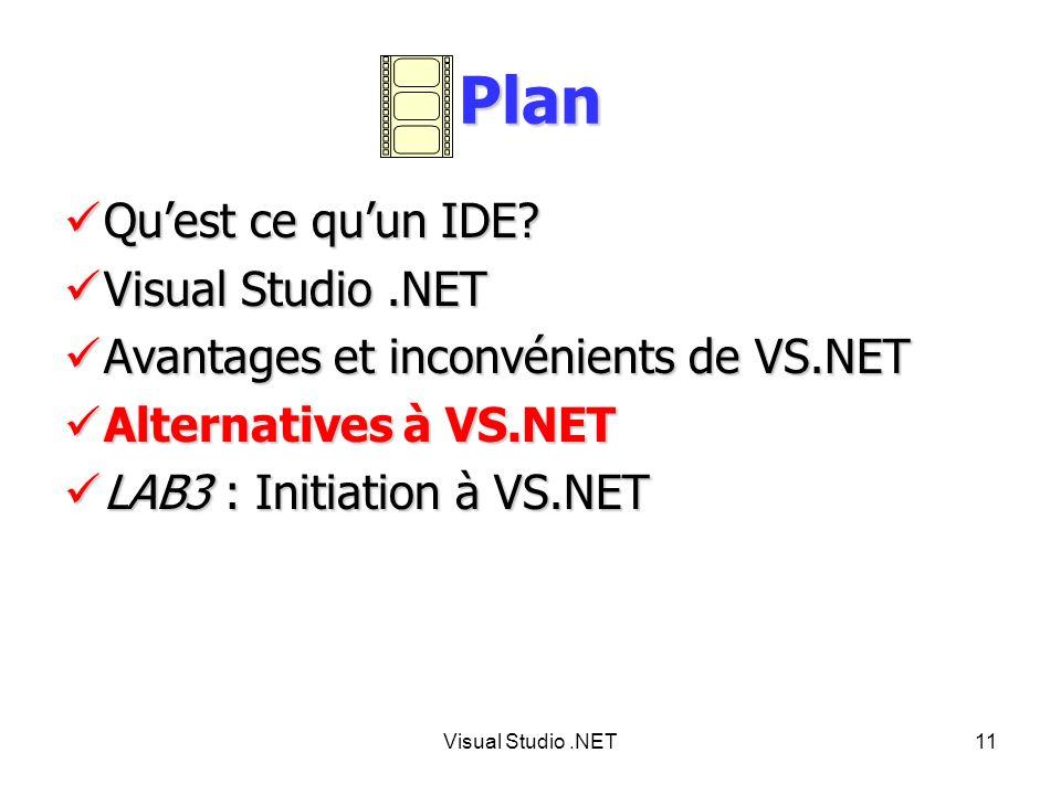 Plan Qu'est ce qu'un IDE Visual Studio .NET