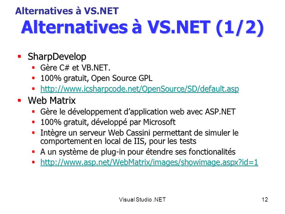 Alternatives à VS.NET (1/2)
