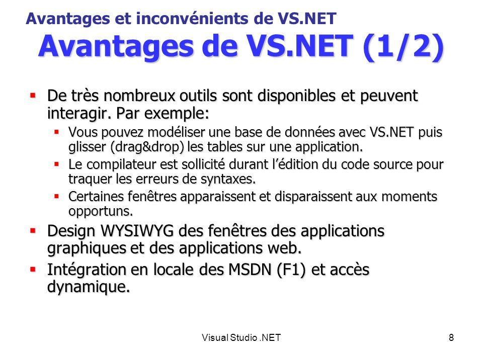Avantages de VS.NET (1/2) Avantages et inconvénients de VS.NET