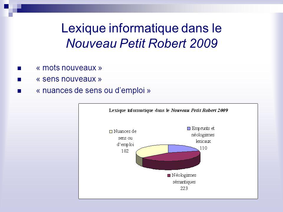 Lexique informatique dans le Nouveau Petit Robert 2009