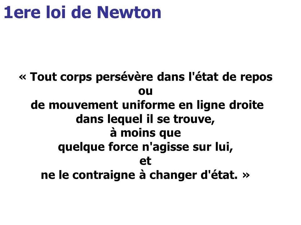 1ere loi de Newton « Tout corps persévère dans l état de repos ou