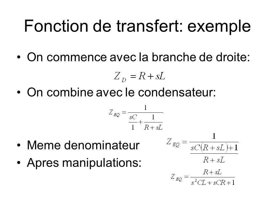 Fonction de transfert: exemple