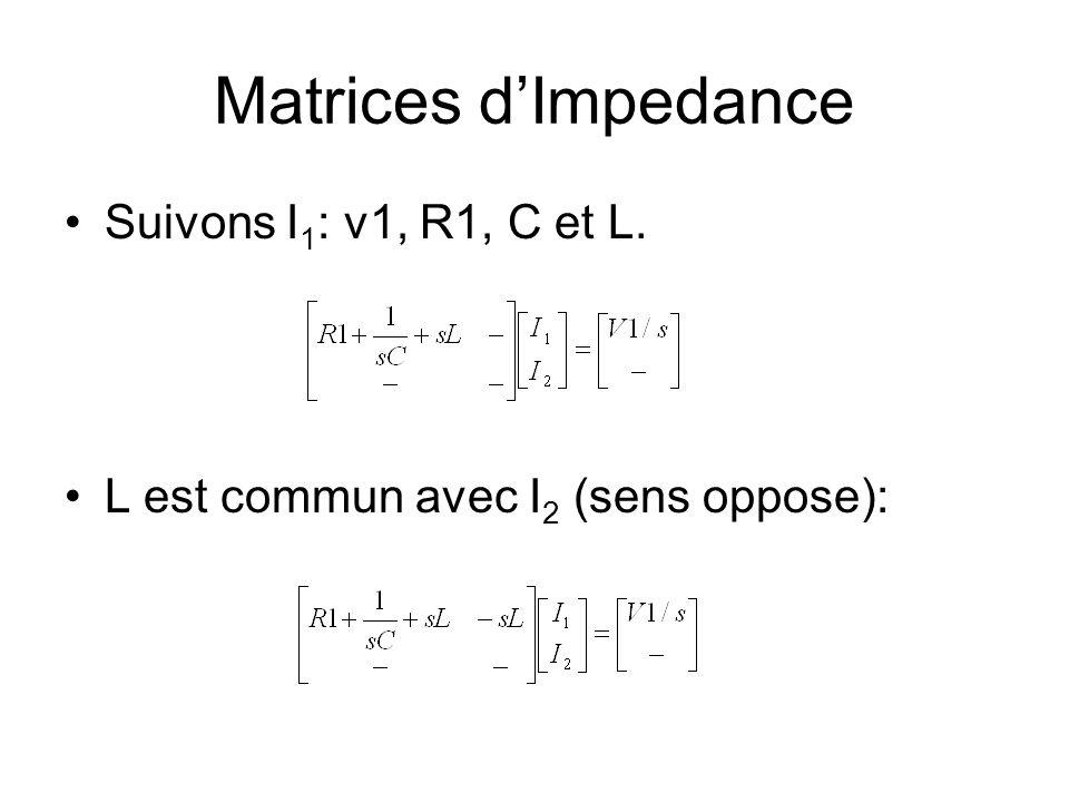 Matrices d'Impedance Suivons I1: v1, R1, C et L.